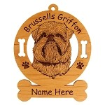 2006 Brussels Griffon Head #2 Ornament Personalized with Your Dog's Name
