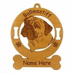 2020 Bullmastiff  Head 2 Ornament Personalized with Your Dog's Name