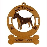 2035 Bull Terrier Colored Standing Ornament Personalized with Your Dog's Name