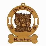 2048 Cairn Terrier Head Ornament Personalized with Your Dog's Name