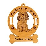 2083 Cavalier King Charles Pup Sitting Ornament Personalized with Your Dog's Name