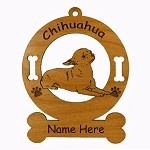 2109 Chihuahua Down Ornament Personalized with Your Dog's Name
