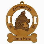 2110 Chihuahua Head Ornament Personalized with Your Dog's Name