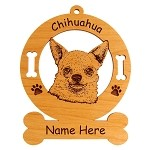 2115 Chihuahua Head #3 Ornament Personalized with Your Dog's Name