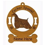 2168 Cocker Spaniel Tri Color Standing Ornament Personalized with Your Dog's Name