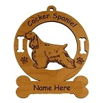 2169 Cocker Spaniel Buff Standing Ornament Personalized with Your Dog's Name