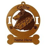 2182 Collie Rough Head Ornament Personalized with Your Dog's Name