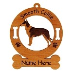 2186 Smooth Collie Standing #2 Ornament Personalized with Your Dog's Name