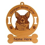 2195 Cardigan Corgi Head Ornament Personalized with Your Dog's Name