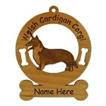 2196 Corgi Cardigan Standing Ornament Personalized with Your Dog's Name