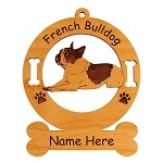 3204 French Bulldog Sitting #2 Ornament Personalized with Your Dog's Name