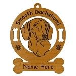 3036 Dachshund Head Smooth Ornament Personalized with Your Dog's Name