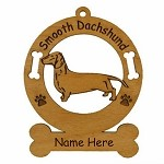 3040  Dachshund Smooth Standing Ornament Personalized with Your Dog's Name