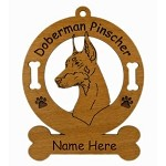 3075 Doberman Head Ornament Personalized with Your Dog's Name