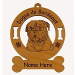3120 Dogue de Bordeaux Head Ornament Personalized with Your Dog's Name