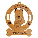 3122 Dogo Argentino Head Ornament Personalized with Your Dog's Name