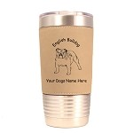 3129 English Bulldog Standing #1 20 oz Polar Camel Tumbler with Lid Personalized with Your Dog's Name