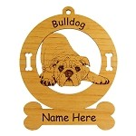 3130 English Bulldog Down Ornament Personalized with Your Dog's Name