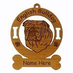 3131 English Bulldog Head Ornament Personalized with Your Dog's Name