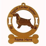 3150  English Cocker Standing Ornament Personalized with Your Dog's Name