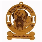 3155  English Mastiff Head Ornament Personalized with Your Dog's Name