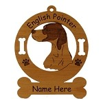 3157a  English Pointer Head #2 Ornament Personalized with Your Dog's Name