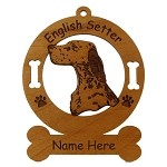 3159  English Setter Head Ornament Personalized with Your Dog's Name
