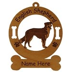 3162  English Shepherd Standing #2 Ornament Personalized with Your Dog's Name