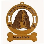 3167  English Springer Spaniel Head Ornament Personalized with Your Dog's Name
