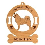 3184 Finnish Spitz Standing #2 Ornament Personalized with Your Dog's Name