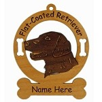 3194 Flat Coated Retriever Head Ornament Personalized with Your Dog's Name