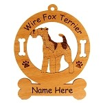 3195 Fox Terrier Wire Standing #3 Ornament Personalized with Your Dog's Name
