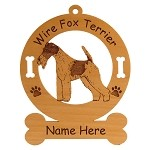 3196 Fox Terrier Wire Standing #2 Ornament Personalized with Your Dog's Name