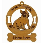 3202 French Bulldog Sitting Ornament Personalized with Your Dog's Name