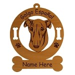3205 Galgo Espanol Head Ornament Personalized with Your Dog's Name