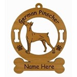 3207 German Pinscher Standing Ornament Personalized with Your Dog's Name
