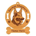 3215 German Shepherd Head Ornament Personalized with Your Dog's Name