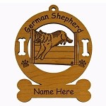3218 German Shepherd Jumping Ornament Personalized with Your Dog's Name