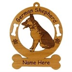 3220 German Shepherd Sitting Ornament Personalized with Your Dog's Name