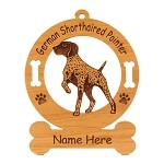 3225 German Shorthaired Pointer Pointing Ornament Personalized with Your Dog's Name