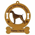 3226 German Shorthaired Pointer Standing Ornament Personalized with Your Dog's Name