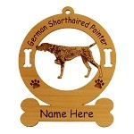 3227 German Shorthaired Pointer Pointing Ornament Personalized with Your Dog's Name