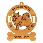 3229 German Spitz Standing #1 Ornament Personalized with Your Dog's Name