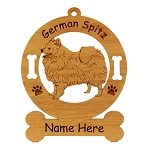 3230 German Spitz Standing #2 Ornament Personalized with Your Dog's Name
