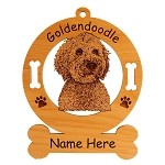 3241 Goldendoodle Head Ornament Personalized with Your Dog's Name