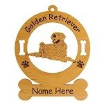 3245 Golden Retriever Lying Down Ornament Personalized with Your Dog's Name
