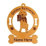 3250 Golden Retriever Puppy with Flag Ornament Personalized with Your Dog's Name