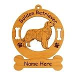 3251 Golden Retreiver Standing #9 Ornament Personalized with Your Dog's Name