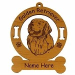 3257 Golden  Retriever Head Ornament Personalized with Your Dog's Name