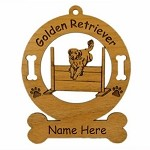3259 Golden Retriever Jumping Ornament Personalized with Your Dog's Name